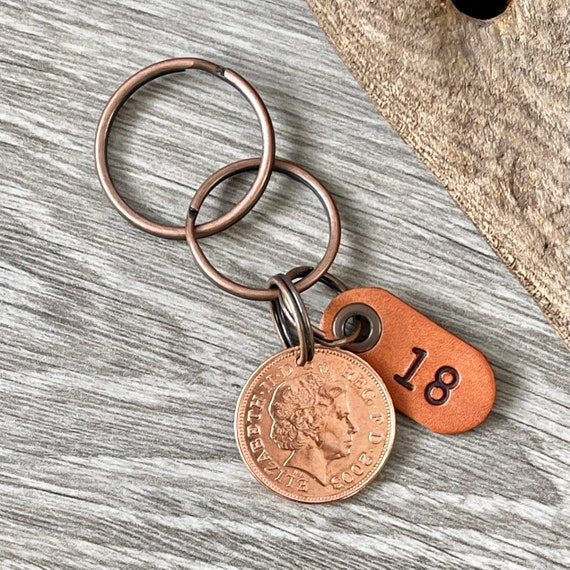 2003 British two pence coin keyring, keychain, or clip, a perfect 18th birthday or anniversary gift