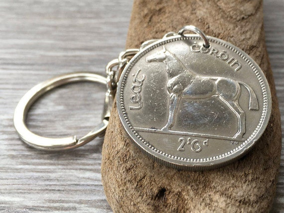 1963 or 1964 Irish keychain, coin from Ireland, celtic key fob, horse keyring, 55th or 56th birthday, retirement, anniversary gift,