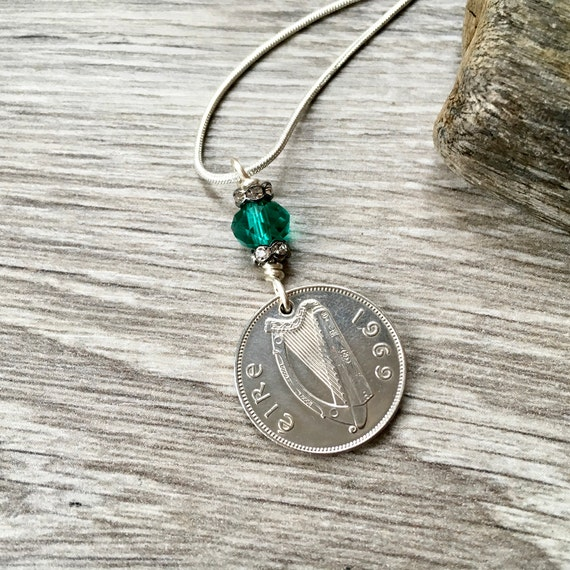 Irish coin necklace, sixpence pendant, Irish wolfhound, harp, Ireland 50th birthday, anniversary present for a woman, 1967, 1968 or 1969