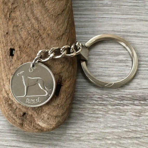 1946 or 1947 Irish sixpence keychain, or clip, Ireland coin keyring, dog lovers lucky charm, 74th or 75th birthday gift for men or women