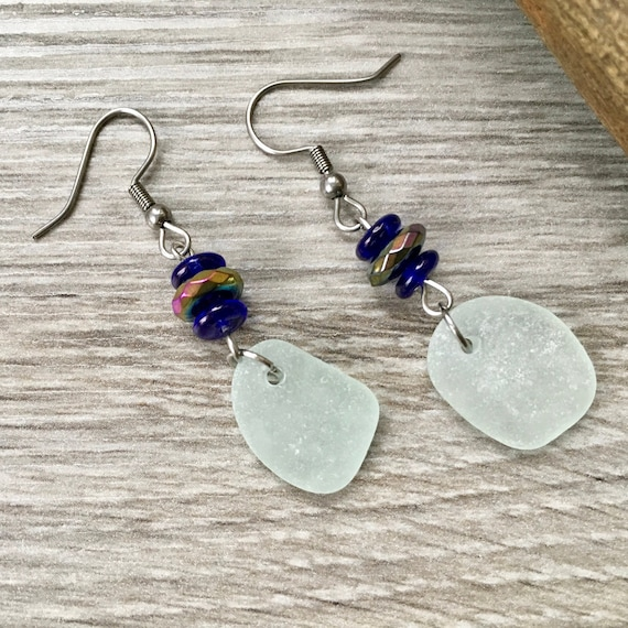 Sea glass earrings with stainless steel ear wires, a perfect Christmas gift