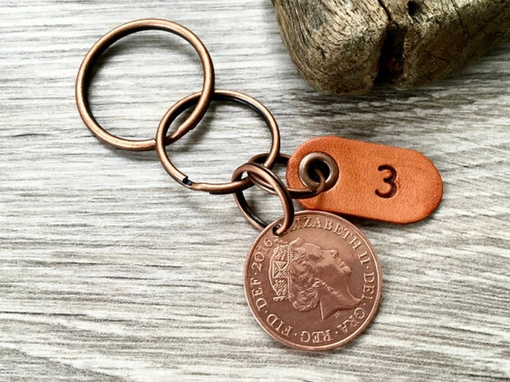 Leather anniversary, 2016 coin keyring, keychain or clip, wedding Anniversary present for a man or woman, three years husband and wife