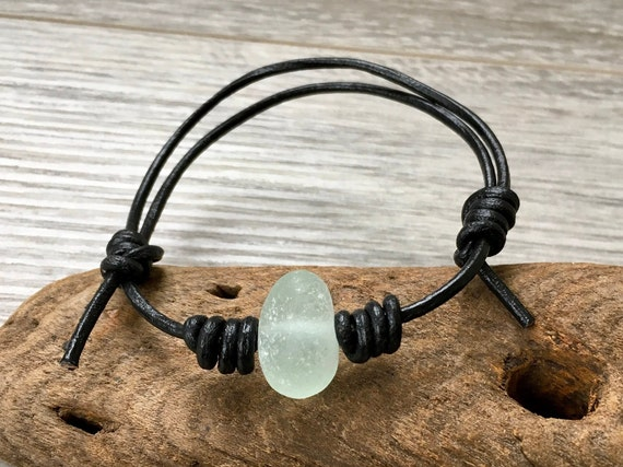 Natural sea glass and leather adjustable bracelet, surfers gift, beach comber bracelet, beach glass jewellery,