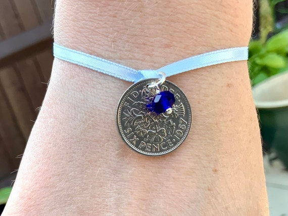lucky sixpence tie bracelet or anklet, Something old something new, something borrowed and something blue, a perfect bridal gift