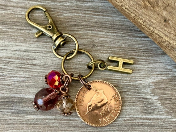 1949 farthing charm bag clip, choose initial, bird coin keyring or keychain, 71st birthday gift,