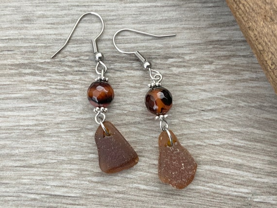 Long brown Sea glass earrings, brown agate, beach glass boho jewellery, mermaids tears Cornish gift for a woman