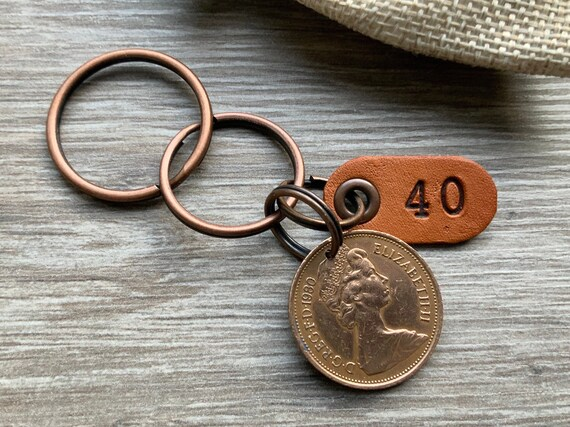 40th birthday gift, 1980 British coin keychain, keyring or clip, 40th anniversary, small present for a man or woman