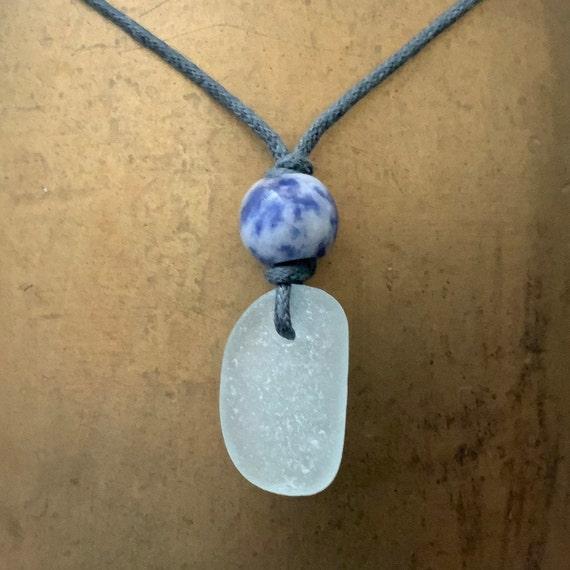 Natural sea glass pendant, Cornish beach glass unisex necklace with blue sodalite, boho, bohemian jewelry, blue calming gemstone