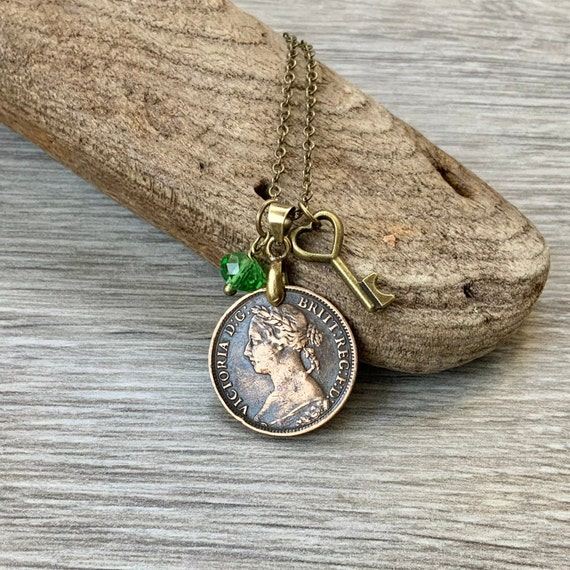 Victorian 1885 coin necklace, British farthing pendant, English jewellery charm necklace. 19th century coin, Queen Victoria, Historical gift