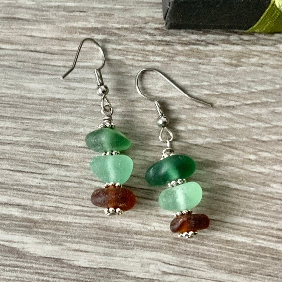 Green and brown sea glass earrings, ombré stacked genuine beach glass, stainless steel ear wires, unusual gift for woman