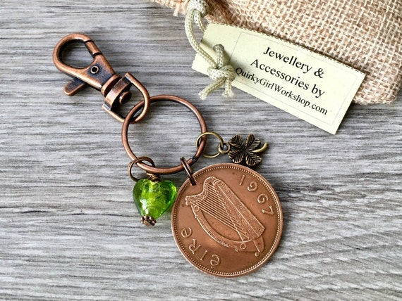 Irish penny charm clip keyring or keychain, 1965, 1966, 1967 or 1968 choose penny year,