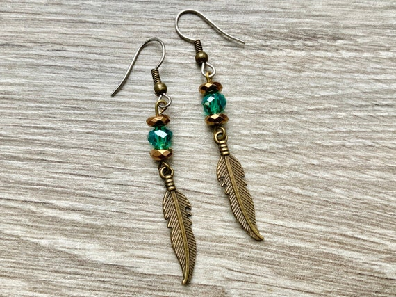 Feather long dangle earrings, bohemian style jewellery, unusual gift for her, hippie woman, stainless steel ear wires