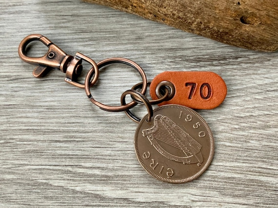 70th birthday gift, 1950 Irish penny keychain, keyring or clip, Ireland gift for a man or woman