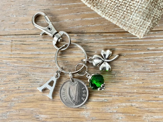 Irish shamrock charm clip, hare coin keyring or bag clip, choice of initial and coin year a thoughtful birthday or anniversary gift