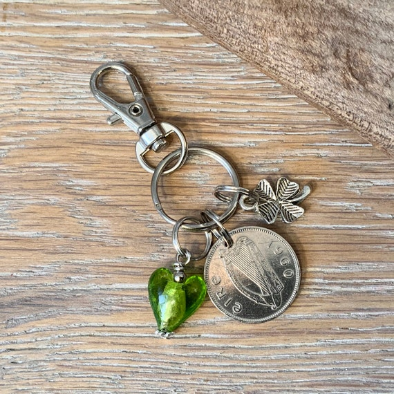 1960 Irish sixpence clip, keying or keychain, Ireland birthday present Anniversary gift for a woman
