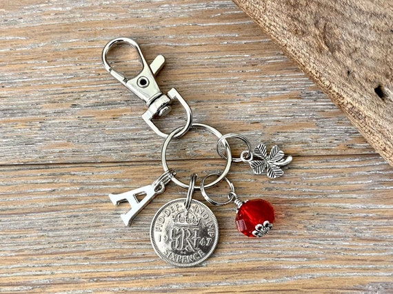 1947 lucky sixpence charm or bag clip, choose initial and birthstone colour, 74th birthday gift,