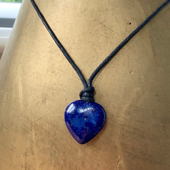 Lapis Lazuli heart adjustable necklace on black leather or waxed cotton cord, hippie heart pendant, blue gemstone choker