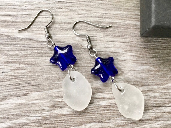 Sea glass and blue star dangle earrings, beach glass jewellery