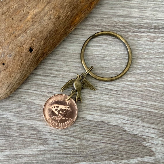 Bird lovers gift, farthing coin keychain, wren bird keyring or clip, British coin birthday gift for a man or woman, choose coin year