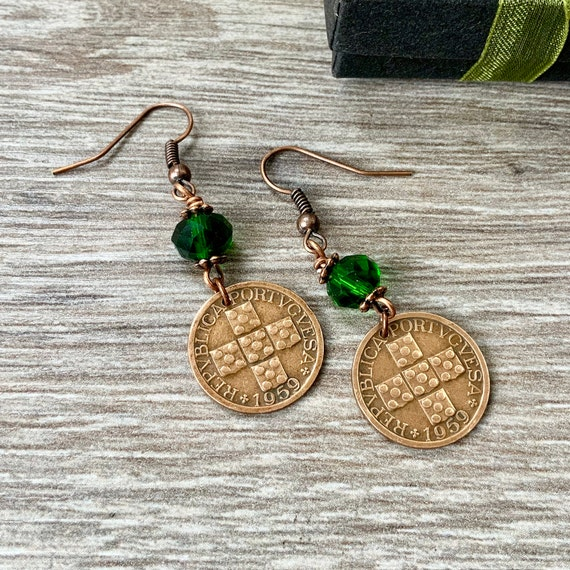 Portuguese coin earrings, 60th birthday gift, portugal Jewellery, 1959 anniversary present for a woman
