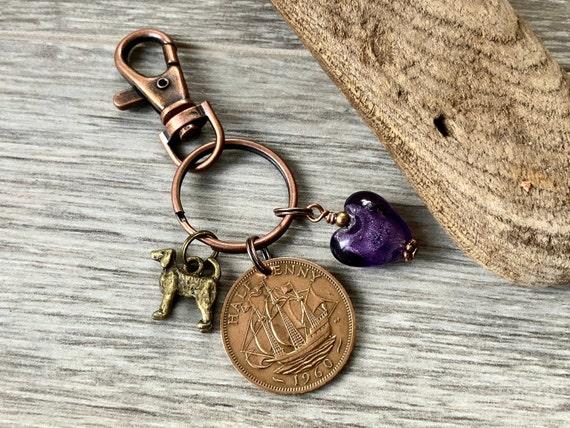 1960 UK coin keyring or clip, handbag charm, purse charm, British half penny keyring, Birthday or anniversary present for a woman