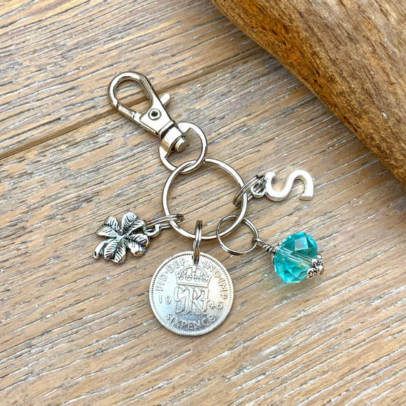 1946 silver sixpence, 75th birthday gift, birthstone charm, keyring or bag clip, choose initial and birthstone colour