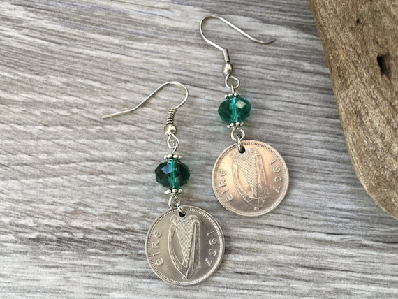 52nd birthday gift, hare Rabbit earrings, 1967 Irish coin jewelry, Ireland, harp, green, retirement, anniversary gift for her, woman