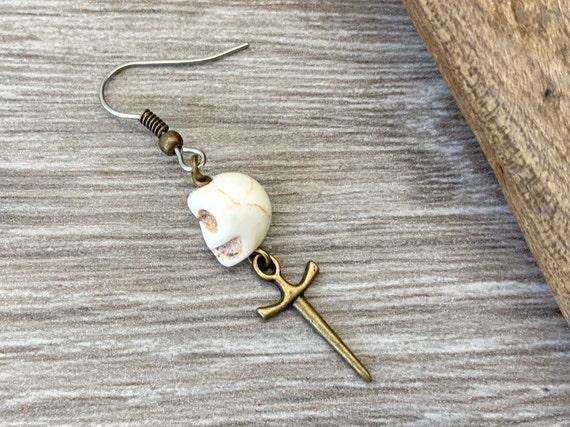 Skull and dagger earring, choose between a single earring or pair of earrings for men or women