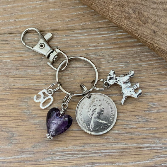 1969 or 1970 British coin bag charm or key ring, 50th birthday or anniversary gift, dog lover