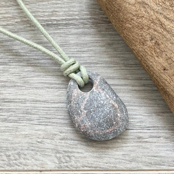 Raw stone necklace, found pebble pendant, natural jewelry, vegan necklace, unisex stonn and khaki thick cotton cord, rock jewelry