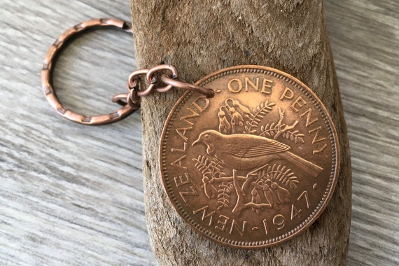 71st Birthday Gift New Zealand 1947 Coin Keyring Tui Bird