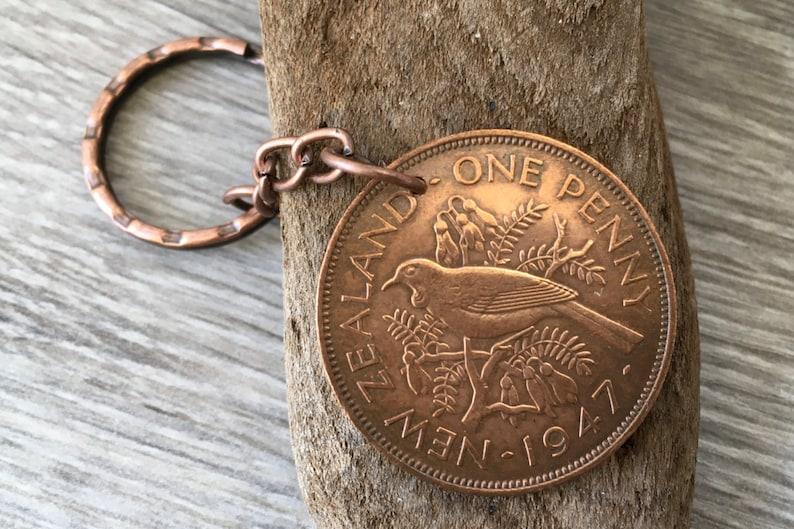 72nd Birthday Gift New Zealand 1947 Coin Keyring Tui Bird