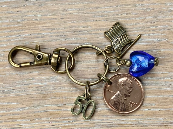 50th birthday gift, Lucky 1971 American penny clip, USA one cent coin keychain, keyring, anniversary  present for a woman