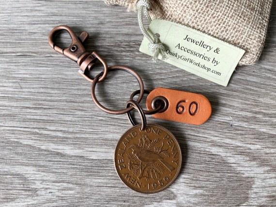 60th birthday gift, 1959 New Zealand coin keyring, Tui bird penny keychain or clip