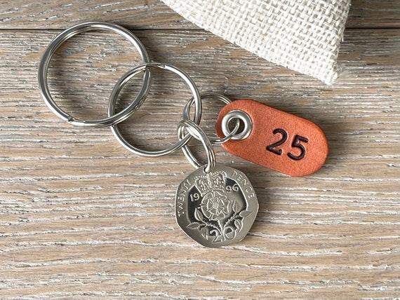 25th birthday gift, 1996 UK coin keyring, keychain, clip or bag charm, with a leather number 25 tag