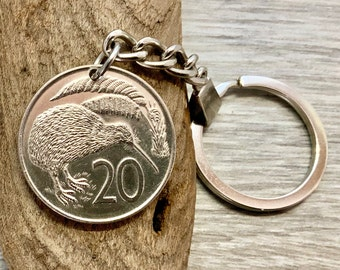 New Zealand coin keyring or clip, Kiwi coin, choose coin year, birthday or anniversary gift for a man or woman