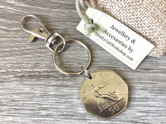 1970 British 50 pence coin keychain, birth year key ring, English anniversary, retirement present for a man or woman