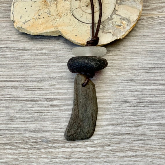 Drift wood and Sea glass necklace, sea glass pendant, rustic beach glass jewellery