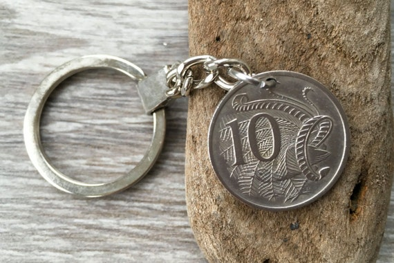 Australian coin keyring, Keychain, clip, purse charm, 1966, 1967, 1968 or 1969, choose coin year, Australia birthday or anniversary gift