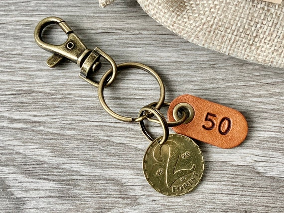 50th Hungarian birthday gift or anniversary present, 1970 or 1971 Hungarian Two Forint coin keyring, keychain or clip