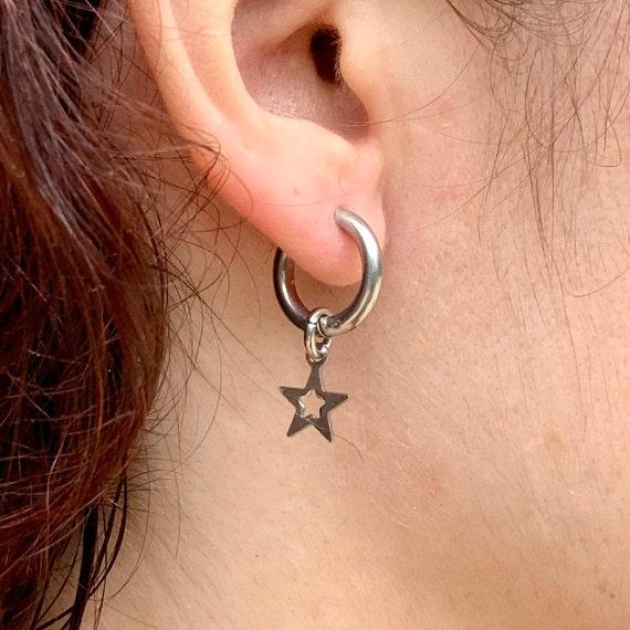 Star thick hoop earring, choose between a single earring or a pair earrings for men or women, stainless steel
