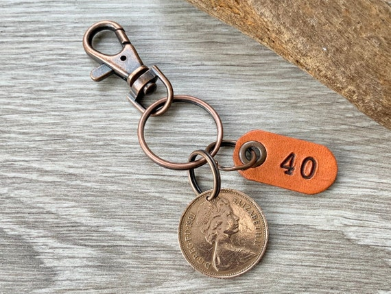 40th birthday gift, 1981 British two pence coin keychain, keyring or clip, 40th anniversary, small present for a man or woman