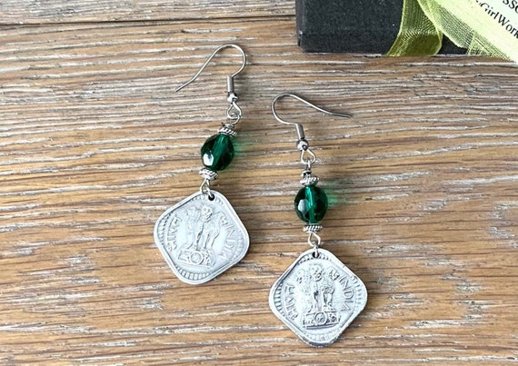 1971 Indian coin earrings, 5 paise from India with green glass beads, 50th birthday gift