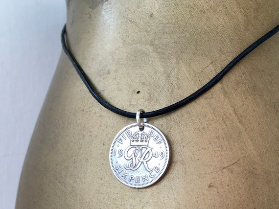 sixpence necklace, leather cord lucky coin pendant, English, British birthday or good luck gift