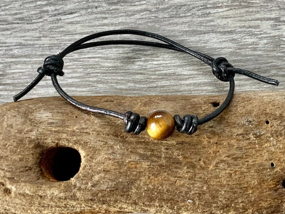 Tigers eye knotted bracelet, simple adjustable jewellery for men or women, hand made leather gemstone bracelet