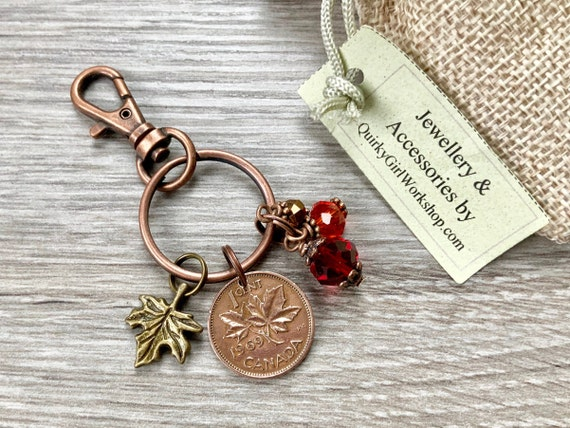 Canadian penny bag clip, 1960-1970 choose coin year, 50th birthday gift, Canada coin keyring, maple leaf keychain, purse charm