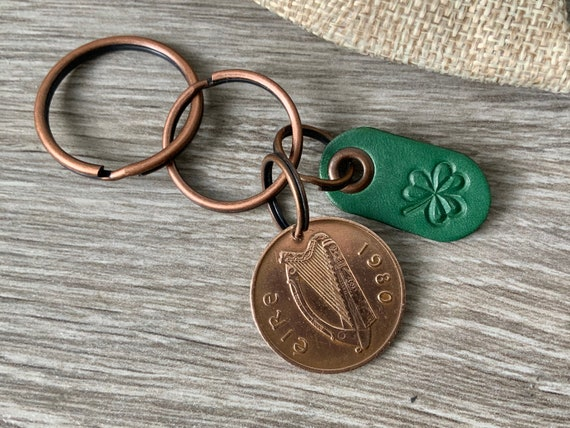 Irish coin keychain or clip, choose coin year, shamrock keyring, Ireland key fob, Eire Anniversary present for a man or woman, St Patrick's