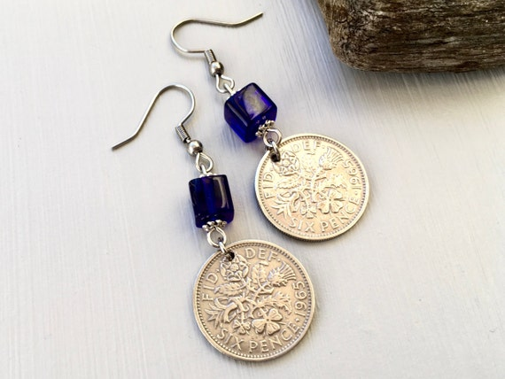 Sixpence dangle earrings with cobalt blue beads, choose coin year for a perfect birthday or anniversary gift