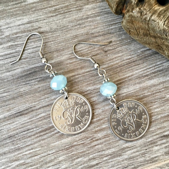 British sixpence earrings, 1947, 1948, 1949, 1950 or 1951 choose coin year, pretty English coin, pale blue jewellery