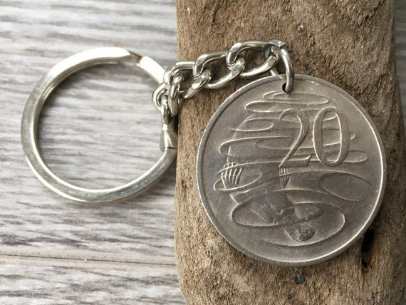 Australian coin keyring, keychain or clip,  1975, 1976, 1978 or 1979 choose coin year, birthday gift, anniversary present, Australia